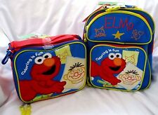 """Sesame Street Elmo 12"""" Coloring for fun Backpack & Matching Elmo Lunch Bag-New!"""