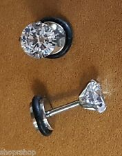 Fake Plugs Earrings Clear Round Cut Prong Set Gem