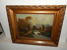 Antique oil painting,{ Landscape with a river near a castle, is signed }.