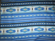Navajo Indian Blue Tans Black Border Print Cotton Fabric FQ