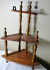 "VINTAGE WOODEN 3 TIER CORNER WALL HANGING DECORATIVE DISPLAY SHELF 16"" H"