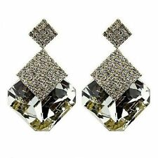 WHITE SPARKLING LUXURY CRYSTAL EFFECT SQUARE BIG DROP EARRINGS FOR PARTY FASHION