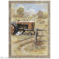 Country Farm Tractor HEAT PRESS TRANSFER for T Shirt Sweatshirt Tote Fabric #750
