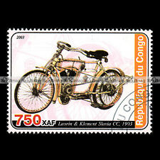 ★ LAURIN & KLEMENT SLAVIA CC 1903 ★ CONGO Timbre Moto / Motorcycle Stamp #411
