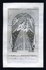 santino incisione 1800 S.MARIA DELLA MISERICORDIA in CASTELLONE