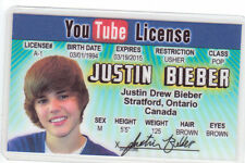 Baby Baby Baby Justin Bieber novelty plastic collectors card Drivers License