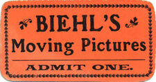 c. 1910 Silent Movie Era Moving Pictures Picture Show Ticket