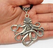 Lady Men Tibet Silver Big Octopus Pendant NECKLACE Long Leather Cord Party Gift