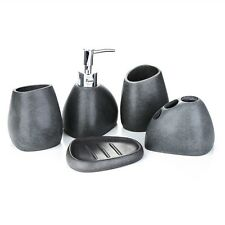 5pc Bathroom Accessory Set Soap Dish Dispenser Tumbler Toothbrush Holder