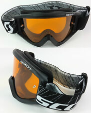 SCOTT RECOIL XI MOTOCROSS MX GOGGLES BLACK with GOGGLE-SHOP ORANGE TINTED LENS