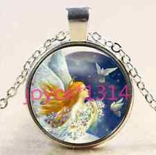 Angel And dove Cabochon Tibetan silver Glass Chain Pendant Necklace #1815