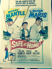SAFE AT HOME, original movie poster,MICKEY MANTLE, ROGER MARIS, 1960,linen back