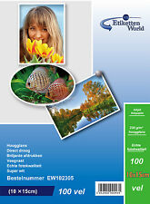 100 Sheets-EtikettenWorld's Glossy Photopaper for Inkjet Printers 10x15cm 230gsm