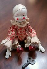 Vintage celluloid tumbling acrobat clown 1940's Japan wind up toy w/bells '500'