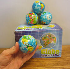 """10 NEW WORLD GLOBE STRESS RELIEF BALLS 3"""" FOAM HAND THERAPY SQUEEZE TOY BALL"""