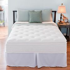 "Bedroom 12"" Night Therapy Euro Box Top Spring Mattress & Bed Frame Full Size"
