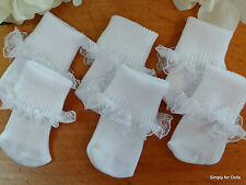 "Set 3 WHITE Lace Trim DOLL ANKLE SOCKS fits 15"" & 18"" AMERICAN GIRL Doll Clothes"