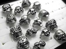 25 METAL BIKER PUNK SKULL RINGS WHOLESALE LOT MEN'S STYLE FASHION