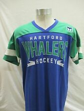 Hartford Whalers Men Large Blue & Green V Neck T Shirt by G-III Sports NHL A12MB