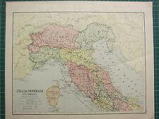 C1890 Mapa Antiguo ~ Italia superior Córcega sección del norte ~ carreteras militar