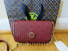 TORY BURCH Bryant Quilted Small Crossbody Red Agate Leather Bag Purse NWT