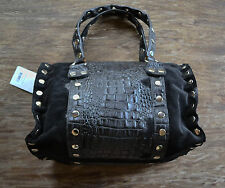 Hammitt Los Angeles Westwood Satchel Black Croc Suede Purse Handbag