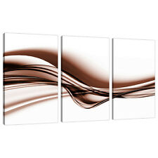 Set of Three Piece Brown Sepia Abstract Canvas Wall Art Picture 3034