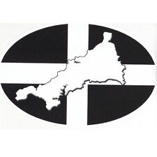 Cornish St Piran's Flags bumper sticker car decal Map of Cornwall Great gift