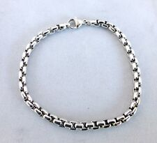TIFFANY & CO. 18K WHITE GOLD MENS 5MM BOX LINK BRACELET / UNISEX 8.5 INCH LENGTH