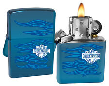 Zippo 20711 Harley Davidson Ghost Sapphire Blue Finish Windproof Lighter New