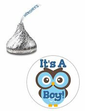 108 ITS A BOY CUTE OWL BABY SHOWER HERSHEY KISS KISSES CANDY STICKERS ***