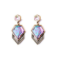 E840 Betsey Johnson Candy Pink Oyster Shell Crystal Bridal Wedding Earrings US