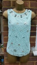 TOPSHOP TALL SZ 14  MINT LACE HEAVILY EMBELLISHED SLEEVELESS VEST TOP