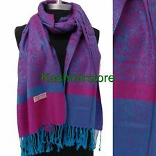 New Pashmina Paisley Floral Silk Wool Scarf Wrap Shawl Soft Pink/Turquoise
