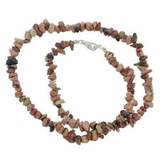 "RHODONITE 18"" CHIP NECKLACE W/ SS CLASP AA++"