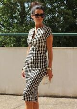 ZARA Houndstooth Check Tartan Bodycon Pencil Dress Black & White SIZE S