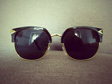 Black Clubmaster Retro Vintage nerd Geek fashion Sunglasses 50s