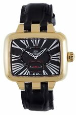 Gio Monaco Women's 215G-A Hollywood Gold IP Roman Numbers Black Leather Watch