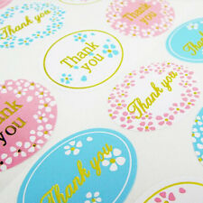 120Pcs Writing 'Thank You' For Your Business Sticker Label Starburst Bright Gold