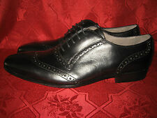 "PIED A TERRE ""BRIGHT"" BLACK LEATHER WINGTIP BROGUE FORMAL SHOES 8 / 42"