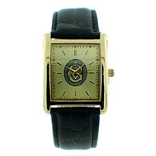 MENS ICED OUT ICE NATION GOLD FREEMASON MASON MASONIC WATCH WITH LEATHER BAND