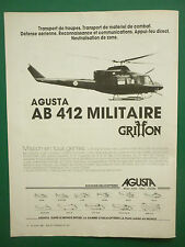 7/1982 PUB AGUSTA HELICOPTERE MILITAIRE AGUSTA BELL AB 412 GRIFFON FRENCH AD