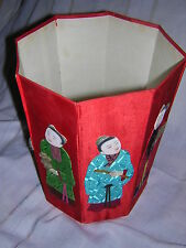 Chinese Immortals Eight Panel Box Red Silk Paper Doll Immortals with Decorations