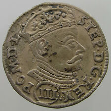 POLAND 3 GROSCHER 1581 Kopicki 3363  RARE Stephan Bathory   #T7 293