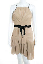Robert Rodriguez Beige Black Slim Fit Pleated Spaghetti Strap Sheath Dress Size4