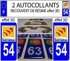 2 stickers plaque immatriculation auto TUNING 3D DOMING RESINE LORRAINE DEP 54