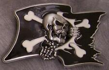 Pewter Belt Buckle novelty Pirate Flag NEW