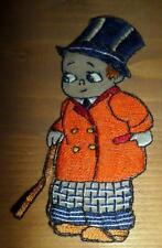 Antique Old Embroidered Patch Handcrafted? Boy Character TopHat n Cane  Amazing