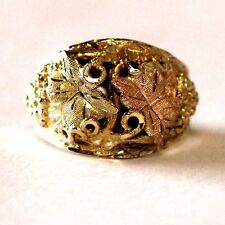 10k yellow rose green gold black hills gold leaf grape ring estate vintage 7.0g