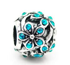SILVER PLATED BLUE CRYSTAL DAISY FLOWER CHARM BEAD FOR CHARM BRACELET, NECKLACE